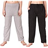 Trendy House Stylish And Comfortable Cotton Pyjama for Women (Black Black Pack of 2)