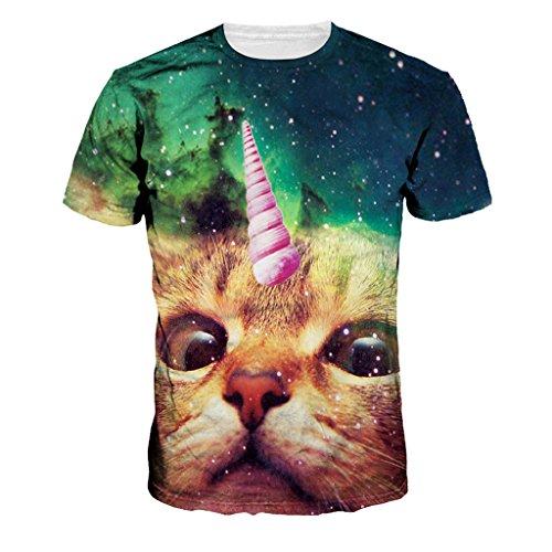 Jiayiqi Fassungslos Pussy Katze Sternenhimmel Paar T-Shirt Tunika Kurzarm
