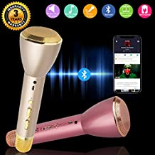 Wireless Karaoke Microphone Portable Handheld Bluetooth Speaker Player Battery Operated Record System for Kids Adult Music Singing Playing, Mini Home KTV Cellphone Karaoke Player Compatible with PC, Laptop, apple, iPhone, iPod, iPad, Android Smartphone (Rose Gold)