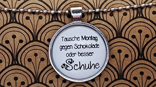 Ballerinas Schokolade (Spruchkette by Perletta 80 cm Kugelkette mit 2,5 cm Anhänger silber Damen Schuhe Tausche Montag gegen Schokolade - oder besser Schuhe)