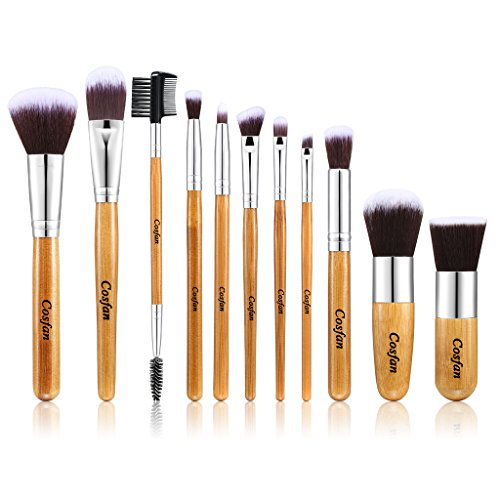 Set pinceaux maquillage Poignée Bambou 11 Pcs maquillage pinceaux Eyebrow Shadow Blush Fond De Teint Anti-Cerne