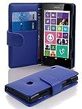 Cadorabo Hülle für Nokia Lumia 630/635 Hülle in KÖNIGS blau Handyhülle mit Kartenfach aus Struktriertem Kunstleder Case Cover Schutzhülle Etui Tasche Book Klapp Style Königs-Blau