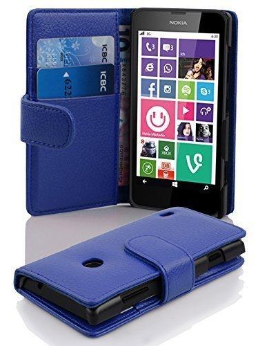Cadorabo Nokia Lumia 630/635 Custodia di Libro di Finta-Pelle STRUTTURA in BLU MARINA – con Vani di Carte e Chiusura Magnetica – Portafoglio Cover Case Wallet Book Etui Protezione
