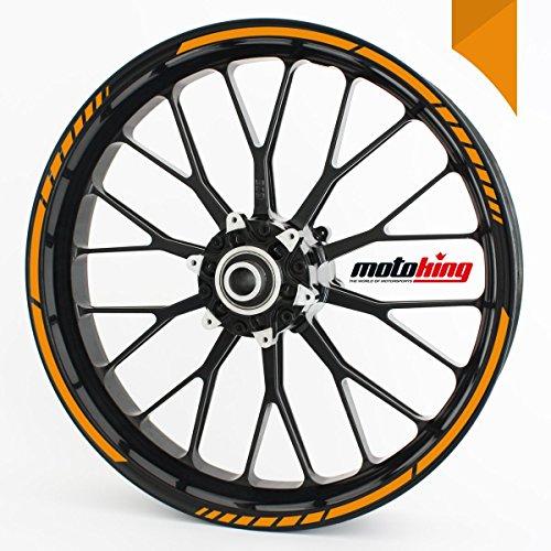 Felgenrandaufkleber GP im GP-Design passend für 17 Zoll und 16″ 18″ 19″ Felgen für Motorrad, Auto & mehr – Orange