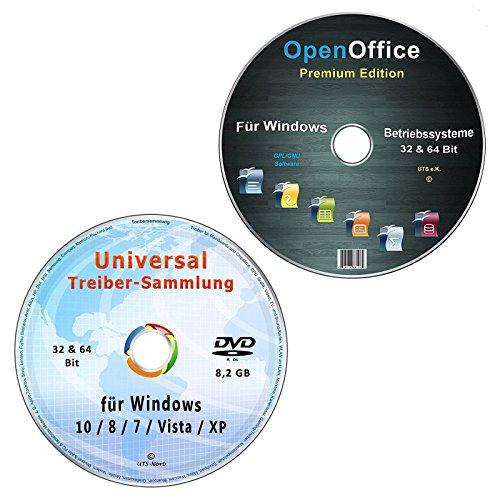 Universal Treiber-Sammlung für Windows 10-8-7-Vista-XP (32 & 64 Bit) alle PC & Notebook Modelle + OpenOffice Premium Edition (2 CD/DVD-Set) (Modellierung Dvd)
