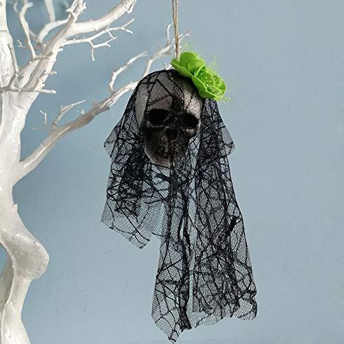VEA-DE Mode-Tagesbedarf Horror-Schaum-Schädel-hängende Dekor Halloween Horror-Schaum-Schädel-Partei gruselige Spukhaus Prop (Farbe : Green ()