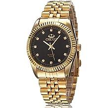 XLORDX Herren Armbanduhr, Business Casual Analog Quarz Gold Uhr mit Edelstahl Armband, Schwarz Zifferblatt