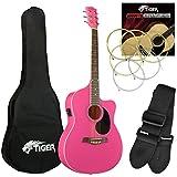 Tiger - Set chitarra elettroacustica, colore: Rosa
