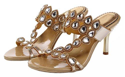Honeystore Damen's Strasss mit tropfenförmigem Kristall Sandalen Gold