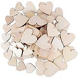 JNCH (40mm+60mm) 150 Stück Holzherzen Scheiben Naturholzscheiben Handwerk Holz Kunsthandwerk unlackiert für DIY Basteln Weihnachten Hochzeit Geburtztag Feiertag Dekoration