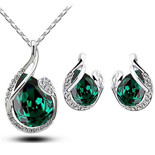 Klaritta S780 Parure composta da orecchini a bottone e collana con ciondolo, con pietre di color verde smeraldo