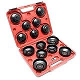 Ölfilterkappen-Satz 14-teilig Ölfilterschlüssel inklusive Adapter im Werkzeugkoffer