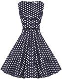 Zarlena Damen Vintage Rockabilly Kleid Petticoat Cocktailkleid XL Navyblau/Weisse Dots 1412