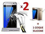 2 VITRES de protection écran + 1 coque silicone Samsung Galaxy S7 SM-G930F, G930 Ecran en Verre Trempé by Campus Telecom®