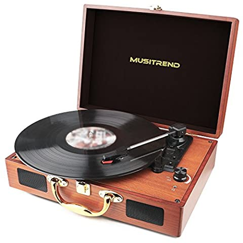 Musitrend Turntable Portable Suitcase Record Player with Built-in Speakers, USB/SD