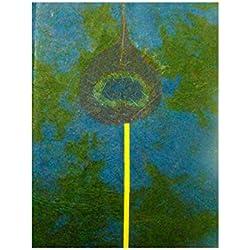 Hermoso libro hecho a mano de papel. Detalle de pluma de pavo real.Hecho a mano en Nepal - 15,5 cm de altura, 11,5 cm de anchura, 50 páginas - Comercio Justo
