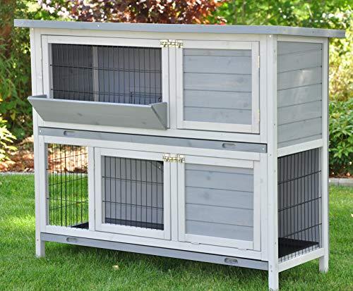 nanook Kaninchenstall Hasenstall Meerschweinchen Kleintierkäfig Bommel Grau, mit Heuraufe, Wetterfest, 122 x 50 x 103 cm - 2