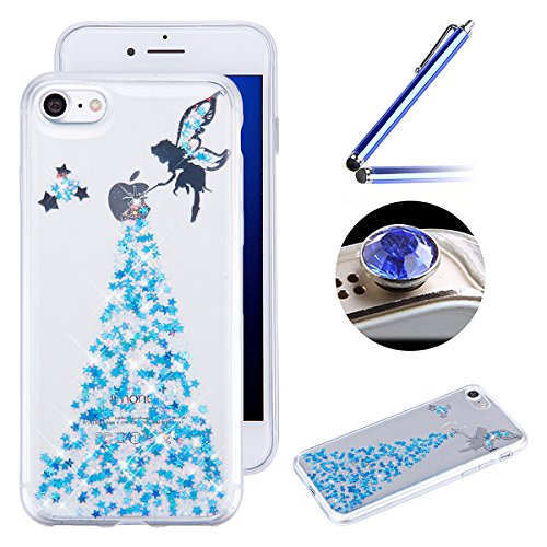 iPhone 7 Plus Coque,iPhone 7 Plus Housse Diamant,ETSUE Mode Luxe Miroir Bling Glitter iPhone 7 Plus Silicone Coque Luxueux Crystal Scintiller Doux Coque Bague Etui Rose Romantique Élégant Fleur Couron Elfe Bleu
