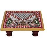 White Box Marble Chowki with Peacock Design for Puja (4x4 inch, Multicolor)