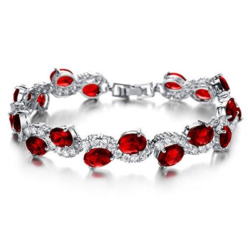 KAXIDY Damen Zirkon Kristall Armbänder Elegantes Strass Armband für Frauen Mädchen (Rot)