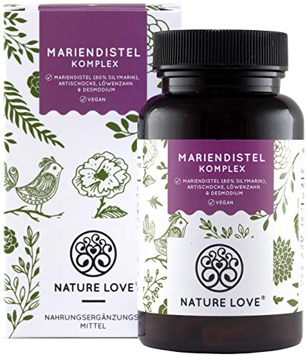 NATURE LOVE® Mariendistel - Premium 4-fach Komplex: Mariendistel (80% Silymarin), Artischocke, Löwenzahn und Desmodium - 120 vegane Kapseln (2 Monate) - Hochdosiert, vegan, hergestellt in Deutschland