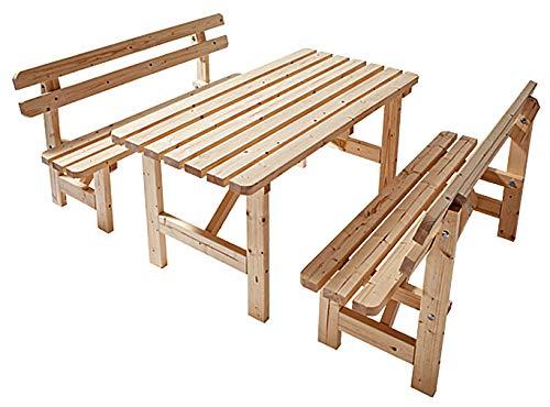 Stabile Holz Sitzgruppe Garten Garnitur 1 Tisch 2 Bänke - 2