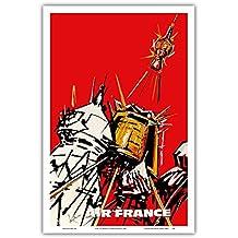 UdSSR - Air France - Russische Satelliten - Vintage Retro Fluggesellschaft Reise Plakat Poster von Georges Mathieu c.1968 - Kunstdruck - 31cm x 46cm