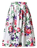 Yafex Women's 1950s Vintage Floral Swing Full Circle Skirt (S, CL6294-3)