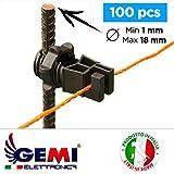 Isolatori Gemi Elettronica per Pali in ferro per recinti elettrici recinto elettrico recinzione elettrificate - 100 pezzi