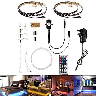 Guaiboshi Motion Sensor Bed Light, 2 x 1.2m(7.87ft) SMD 5050 RGB LED Strip Light Tape with 44-key IR Controller Under Cabinet Bed Hallway(UK Plug) - low-cost UK light store.