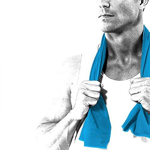 IKuaFly Frozen Toalla Microfibra Suave Rápido Refresco Seco Libre de Químicos Profesional Gimnasio Deporte Fitness Towel - Colgando Gancho Paquete de Botella (azul 90*30cm)