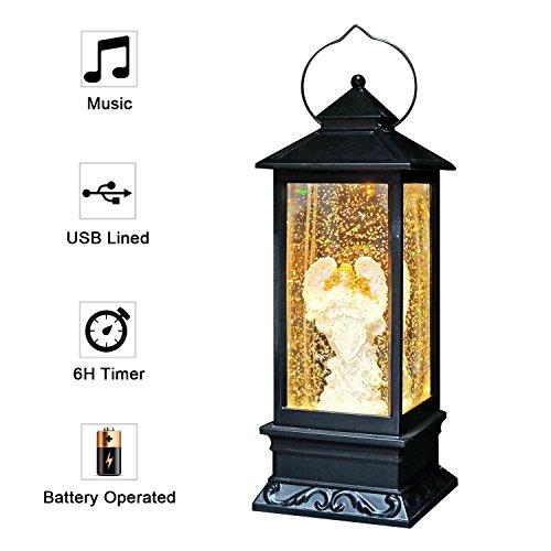Eldnacele Musikalische Weihnachten Schneekugel Laterne Singen Batteriebetriebene & gefüttert Beleuchtete glitzernde Spinning Wasserlaterne Kirche mit 6H Timer und USB-Kabel 12
