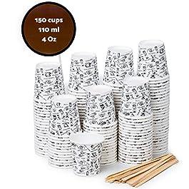 140 Bicchieri Carta Espresso To Go 110 ml con Bastoncini per Mescolare in Legno per Caffè da Portar Via (150)