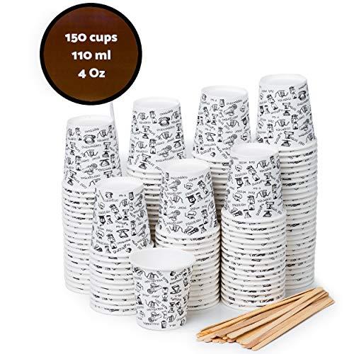 150 Espresso Gobelets en Carton 110 ml avec Agitateurs en Bois pour Café à Emporter