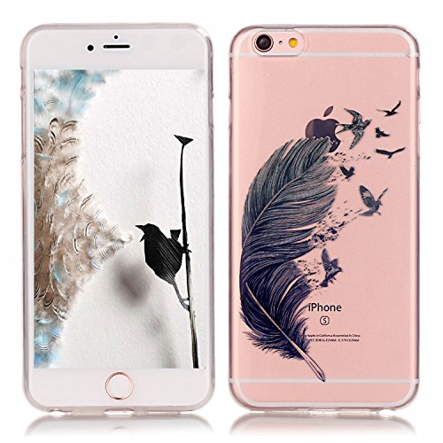 Pheant® Apple iPhone 7 (4.7 pouces) Coque Gel Étui Housse de Protection Transparent Cas en TPU Soulple Silicone(Fleur de Prunier) Coloré Plume