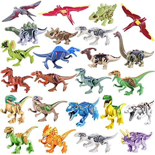 ZKO Dinosaurier Baustein Spielzeug, 24er Set DIY Puzzles Dinosaurier für Kinder Dinosaurier World Tiere Spielzeug Perfekt für Kindergeburtstag Party Dekoration, Jungen Mädchen Kinder (Dinosaurier-kostüm Diy Erwachsenen)