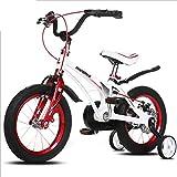 TX Bicicletta da Bambino per Bambini da 4 A 10 Anni Bicicletta da Allenamento per Bambini in Lega di Magnesio con Ruota Ausiliaria,Bianca,18inch