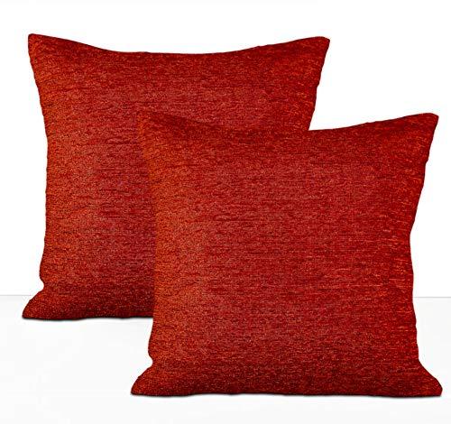 Chenille-2 Stück (TreeWool Kissenbezug, einfarbig, luxuriös, Chenille-Stoff, dekorativer Kissenbezug, 2 Stück 18 x 18 Inch kastanienbraun)