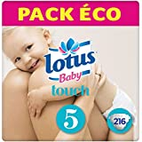 LOTUS BABY TOUCH  – Couches Taille 5 (12-22 kg) - lot de 6 packs de 36 couches (x216 couches)