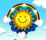 BRIGHTLLT Kinderzimmer Sonne Regenbogen Deckenleuchte Cartoon Mädchen Auge Jungen Schlafzimmer Lampen, 700 mm