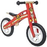 BIKESTAR® Original Premium Kinderlaufrad für mutige Entdecker ab 3 Jahren ★ 12er Natur Holz Edition ★ Feurig Rotes Feuerwehr Design