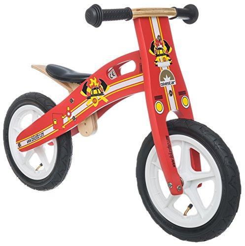 BIKESTAR® 30.5cm (12 pouces) Bois Vélo Draisienne pour enfants ★ Couleur Rouge Design Pompiers