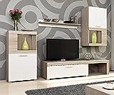 Selsey Flavo Wohnwand / Wohnzimmer Set mit TV Lowboard, Hängevitrine, Sideboard, Wandregal (4-teilig, Weiß / Sonoma Eiche, ohne LED)