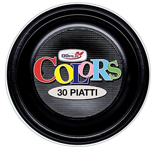 GIRM® - S11177 - Piatti piani di plastica Neri 30 pezzi, piatti monouso per feste, piatti di plastica monouso, piatti piani colorati.