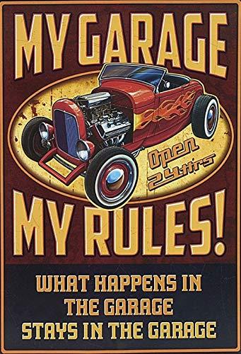 Hot Rod Garage (Blechschild Auto My Garage My Rules hot Rod Metallschild 20x30 cm Deko tin Sign)