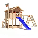 ISIDOR Holzbau ISIDOR WONDER WOW Spielturm Kletterturm Baumhaus Rutsche Schaukeln Treppe 1,50m (erweiterter Schaukelanbau, Blau)