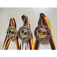 silver und bronzefarben mit Band Pokale & Preise Medaille Metall 50mm incl Emblem gold-