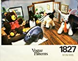 Vtg Vogue Stuffed Animals Hippo, Lamb, Bunny, Bear, Penguin Sewing Pattern 1827 by Vogue Pattern