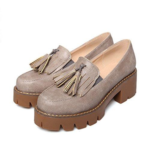 AllhqFashion Femme Tire Rond à Talon Correct Pu Cuir Couleur Unie Chaussures Légeres Gris