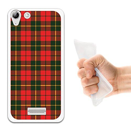 WoowCase Wiko Selfy 4G Hülle, Handyhülle Silikon für [ Wiko Selfy 4G ] Grünes & rotes schottenkaro Hemd Handytasche Handy Cover Case Schutzhülle Flexible TPU - Transparent